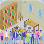 Colorful Image of cartoon humans in front of a library