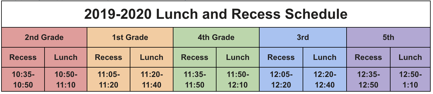 screen shot of lunch and recess schedu