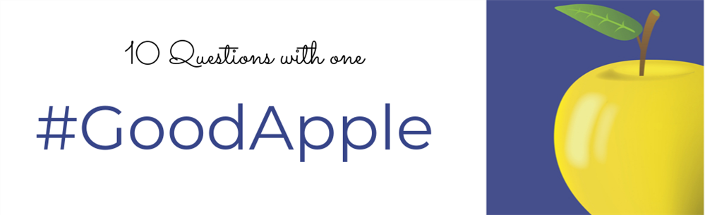 Apple logo with text that says 10 Questions with a Good APple